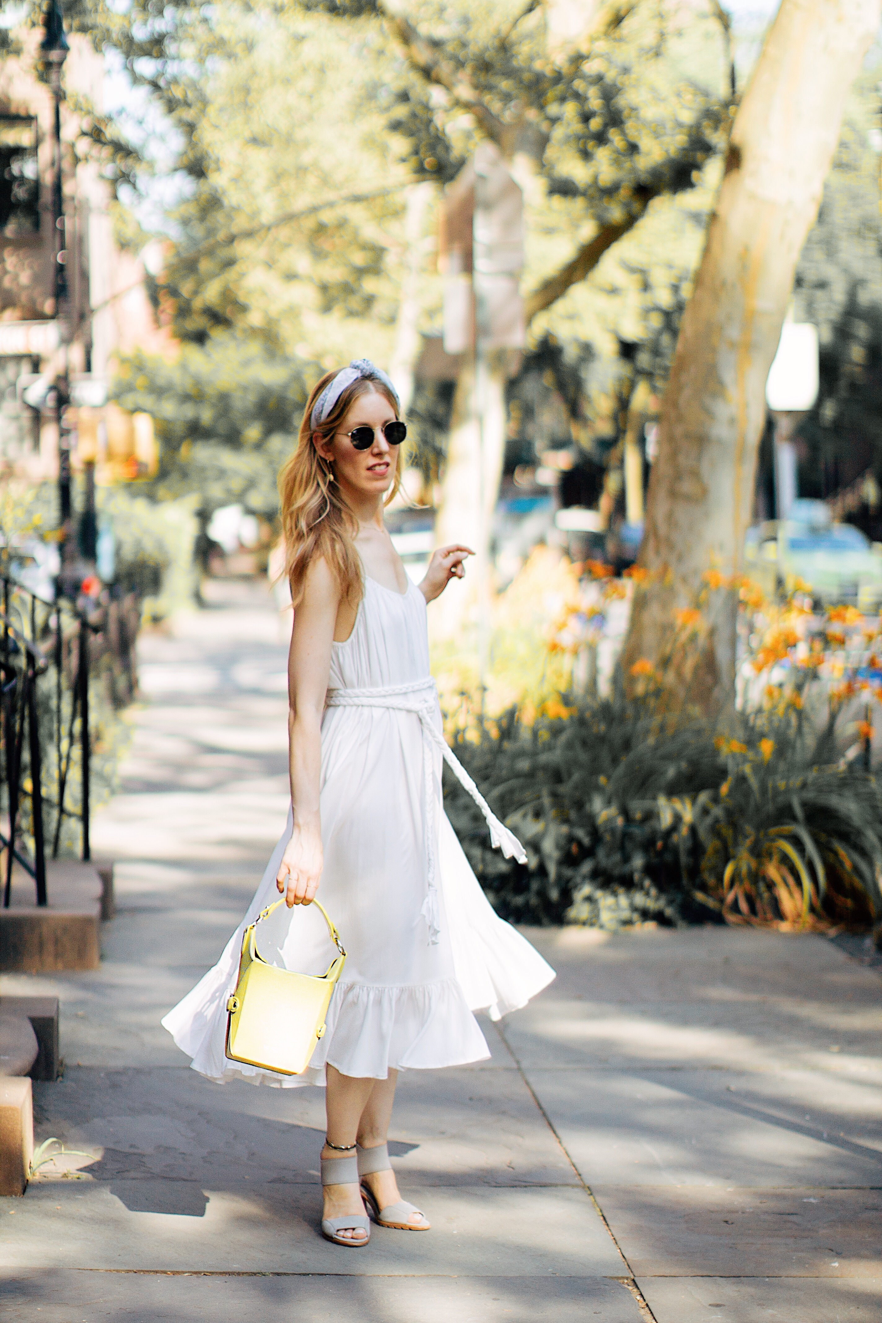 white dress and headband for summer
